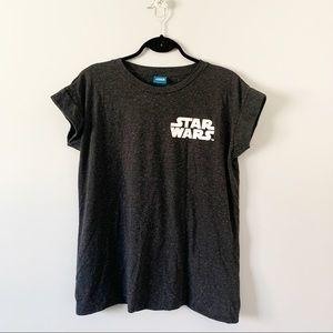 Star Wars Black Speckled T-Shirt Rolled Cap Sleeve
